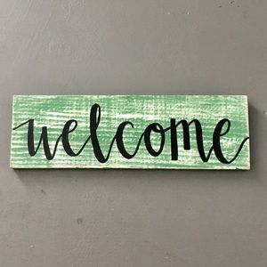 Accessories - Handmade Welcome Sign on Distressed Painted Wood